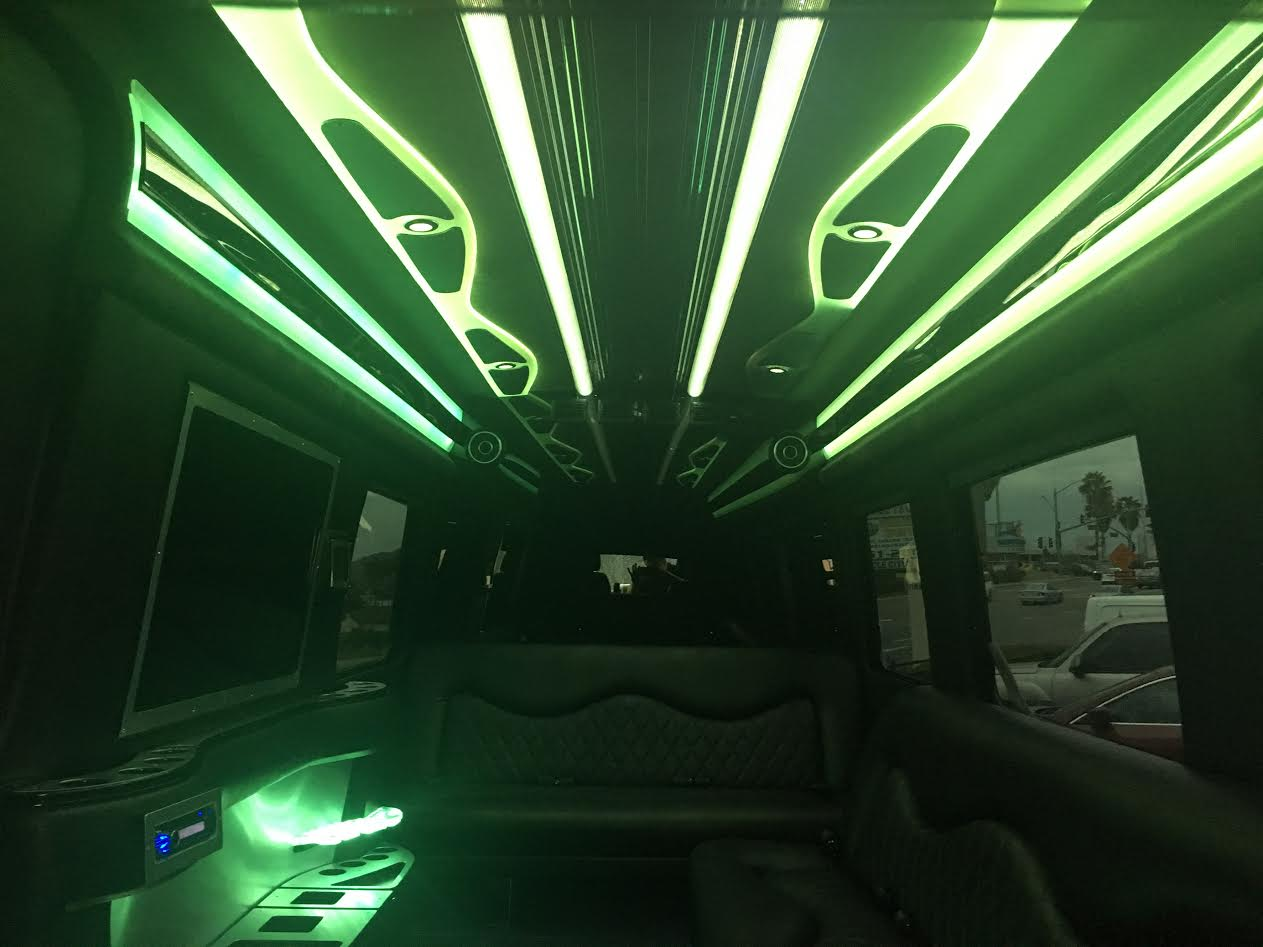 10 12 black Luxury Mercedes Benz sprinter limousine interior 4