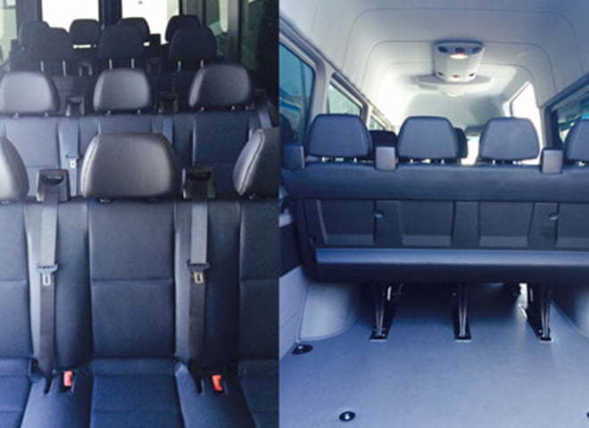 14 passenger Corporate Mercedes Benz sprinter shuttle interior 1