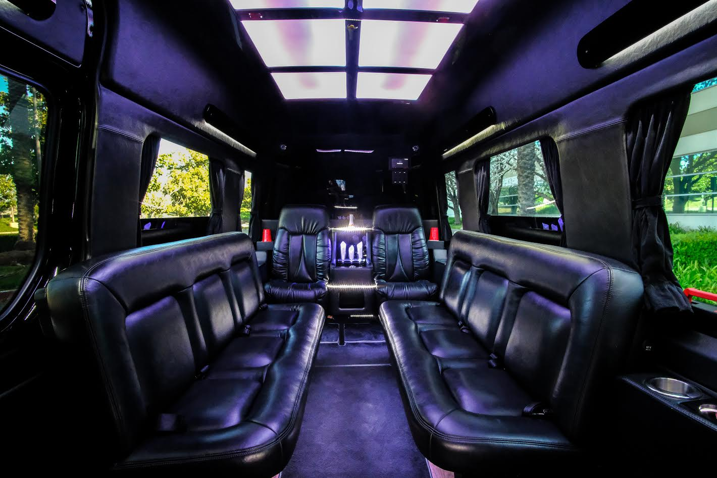 10 passenger black Executive Mercedes Benz sprinter limousine Interior 2